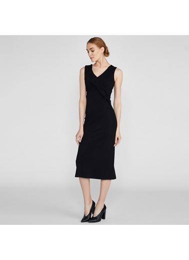 Vekem-Limited Edition V Yaka Abiye Elbise Siyah